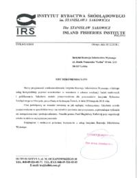Instytut Rybactwa Śródlądowego wOlsztynie – usługa szkoleniowa – 18.12.2018