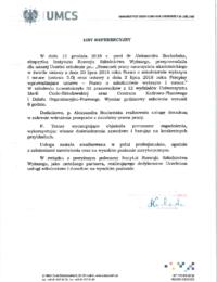 Uniwersytet Marii Curie – Skłodowskiej wLublinie – usługa szkoleniowa – 13.12.209