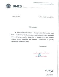 Uniwersytet Marii Curie – Skłodowskiej wLublinie – usługa szkoleniowa – 23.02.2018