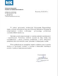 Uniwersytet Rzeszowski – usługa szkoleniowa – 03.03.2015