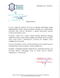 Wojskowa Akademia Techniczna – usługi doradczo-prawne – 17.05.2019 r.