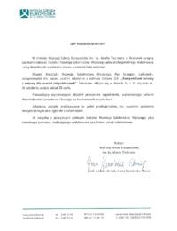 Wyższa Szkoła Europejska im.ks.Jóżefa Tischnera – usługa szkoleniowa – 25.01.2019