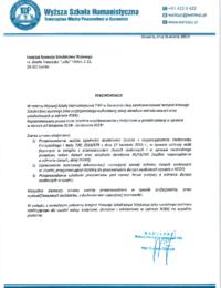 Wyższa Szkoła Humanistyczna Towarzystwa Wiedzy Powszechnej wSzczecinie – usługi doradczo-wdrożeniowe – 6.03.2019 r.