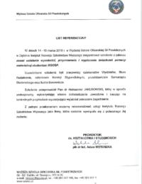 Wyższa Szkoła Oficerska Sił Powietrznych – usługa szkoleniowa – 14.03.2018