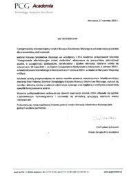 PCG Academia – usługa szkoleniowa – 27.06.2019